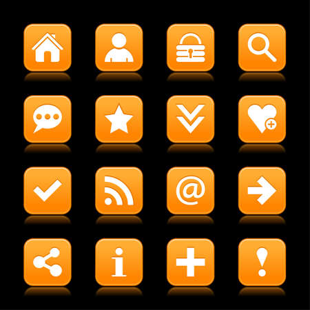 reflection internet: 16 orange satin icon with white basic sign on rounded square web button with color reflection on background. This vector illustration internet design element