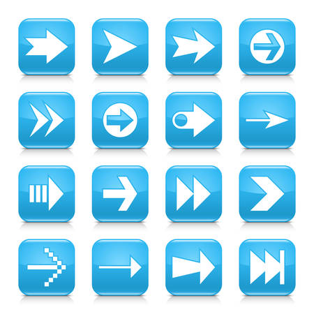 under control: 16 arrow icon set 02. White sign on blue rounded square button with gray reflection, black shadow on white background. Glossy style. Vector illustration web design element