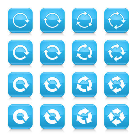 synchronize: 16 arrow reload, rotation icon set 04. White sign on blue rounded square button with gray reflection, black shadow on white background. Glossy style. Vector illustration web design element
