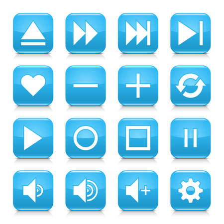 rec: 16 media control icon set 06. White sign on blue rounded square button with gray reflection, black shadow on white background. Glossy style. Vector illustration web design element Illustration