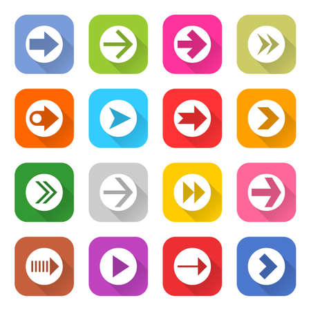 01: 16 arrow icon set 01 white sign on color . Web button on white background. Simple minimalistic mono flat long shadow style. Vector illustration internet design graphic element