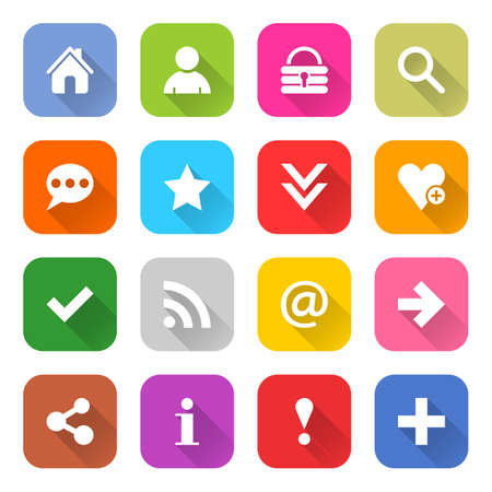 16 basic icon set 05 white sign on color. Web internet button on white background. Simple minimalistic mono flat long shadow style. Vector illustration internet design graphic element