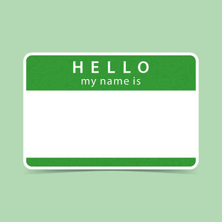 hello my name is: Color blank name tag sticker HELLO my name is. Rounded rectangular badge with drop shadow. Vector illustration clip-art element for design in 10 eps