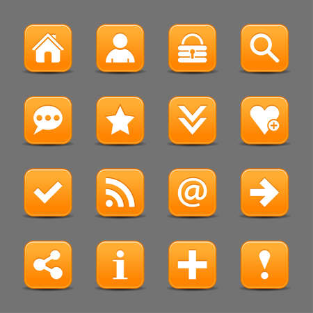 color reflection: 16 orange satin icon with white basic sign on rounded square web button with color reflection on background. This vector illustration internet design element save in 8 eps Illustration