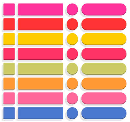 vecor: 32 blank icon in flat style 3D button square, rectangle, circle shapes with gray shadow on white background. Pink, red, yellow, magenta, green, orange, blue colors. Vector illustration in 8 eps Illustration