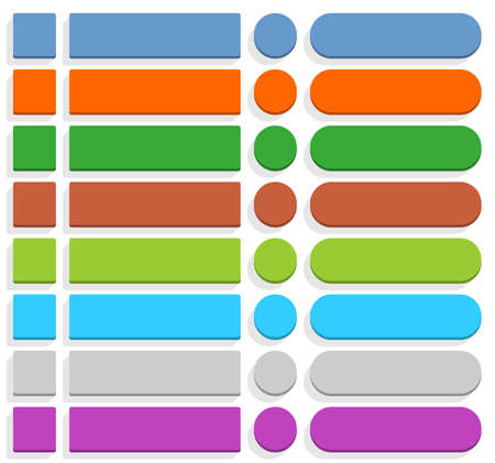 vecor: 32 blank icon in flat style 3D button square, rectangle, circle shapes with gray shadow on white background. Blue, orange, green, brown, cyan, gray, purple, violet colors. Vector illustration in 8 eps