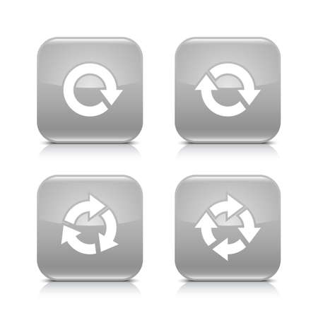 loopable: 4 arrow icon. White repeat, reload, rotation, refresh sign. Set 03. Gray rounded square button with gray reflection, black shadow on white background. Vector illustration web design element in 8 eps