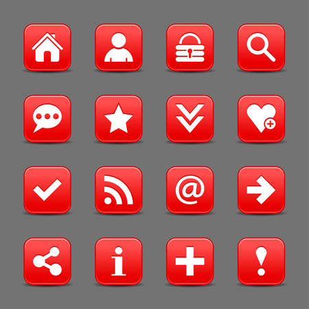 16 red satin icon with white basic sign on rounded square web button with color reflection on background. This vector illustration internet design element save in 8 eps Иллюстрация