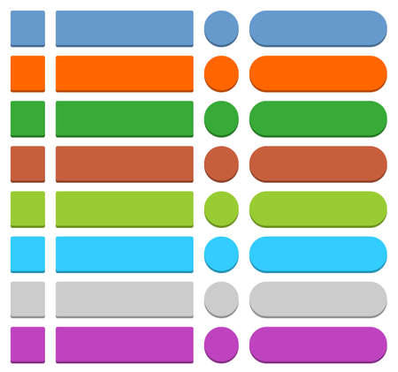 unoccupied: 32 blank icon in flat style 3D button square, rectangle, circle shapes on white background. Blue, orange, green, brown, cyan, gray, purple, violet colors. Vector illustration in 8 eps