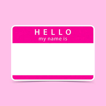 blank tag: Color blank name tag sticker HELLO my name is. Rounded rectangular badge with drop shadow. Vector illustration clip-art element for design in 10 eps