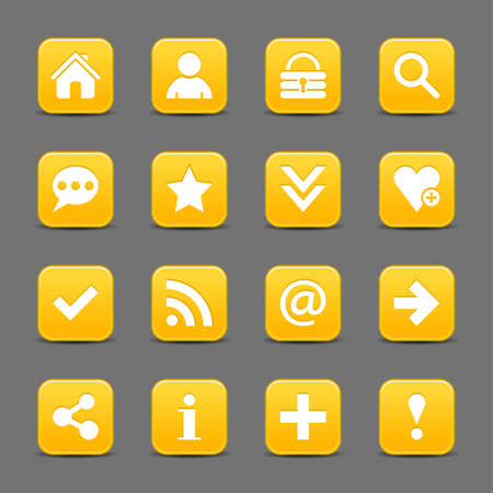 color reflection: 16 yellow satin icon with white basic sign on rounded square web button with color reflection on background. This vector illustration internet design element save in 8 eps Illustration