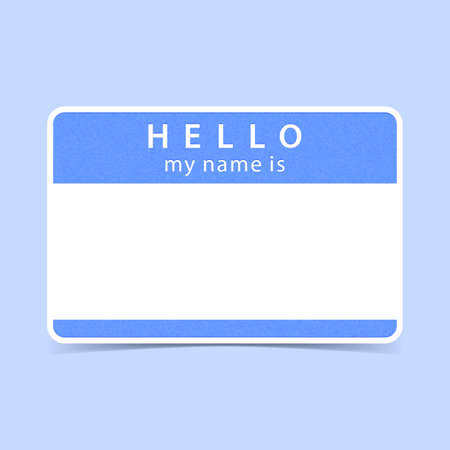 hello my name is: Blue blank name tag sticker HELLO my name is. Rounded rectangular badge with gray drop shadow on color background. Vector illustration clip-art element for design in 10 eps Stock Photo