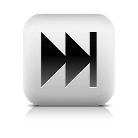 dvd player: Media player icon with last sign. Rounded square web button with black shadow gray reflection on white background. Series in a stone style. Graphic vector illustration internet design element 8 eps