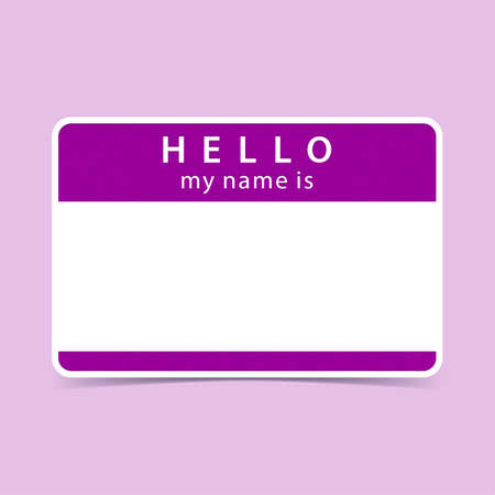 Color blank name tag sticker HELLO my name is. Rounded rectangular badge with drop shadow. Vector illustration clip-art element for design in 10 eps
