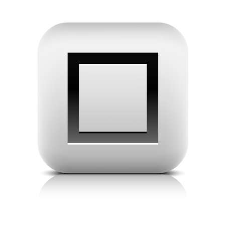 inet symbol: Media player icon with stop sign. Rounded square web button with black shadow gray reflection on white background. Series in a stone style. Graphic vector illustration internet design element 8 eps