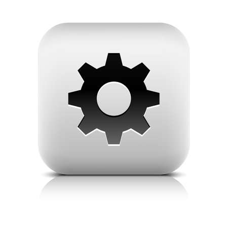 inet: Media player icon with cog settings sign. Rounded square web button with black shadow gray reflection on white background. Series in a stone style. Vector illustration internet design element 8 eps