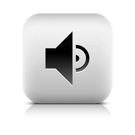 Media player icon with volume low sign. Rounded square web button with black shadow gray reflection on white background. Series in a stone style. Vector illustration internet design element 8 eps