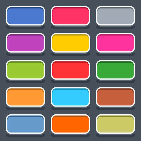 rectangle button: 15 3d blank icon in flat style. Set 01 clicked variant . Colored satin rounded rectangle button with oval shadow on gray background. Vector illustration web internet design element in 8 eps Illustration