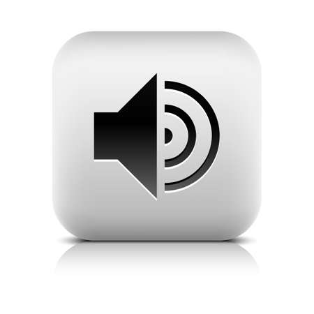 high volume: Media player icon with volume high sign. Rounded square web button with black shadow gray reflection on white background. Series in a stone style. Vector illustration internet design element 8 eps