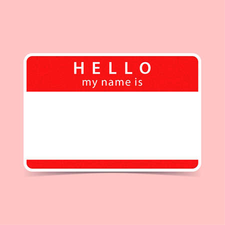 color registration: Color blank name tag sticker HELLO my name is. Rounded rectangular badge with drop shadow. Vector illustration clip-art element for design in 10 eps