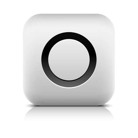 inet symbol: Media player icon with record sign. Rounded square web button with black shadow gray reflection on white background. Series in a stone style. Graphic vector illustration internet design element 8 eps