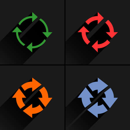 4 arrow icon. Set 04. Reset, repeat, reload, refresh, rotation sign. Color pictogram with black long shadow on gray background. Simple, solid, plain, flat style Vector illustration web design 8 eps Illustration