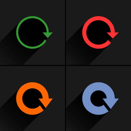 4 arrow icon. Set 01. Reload, refresh, rotation, reset, repeat sign. Color pictogram with black long shadow on gray background. Simple, solid, plain, flat style Vector illustration web design 8 eps
