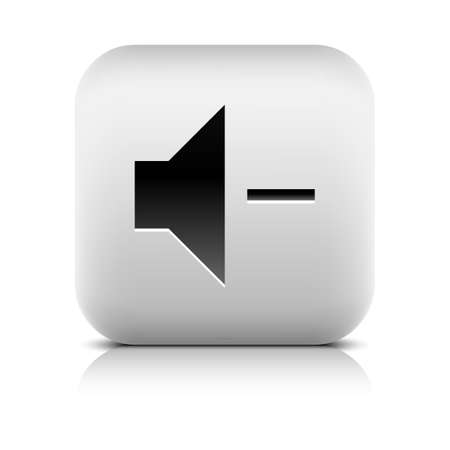 decrease: Media player icon with volume decrease sign. Rounded square web button with black shadow gray reflection on white background. Series in a stone style. Vector illustration internet design element 8 eps Illustration