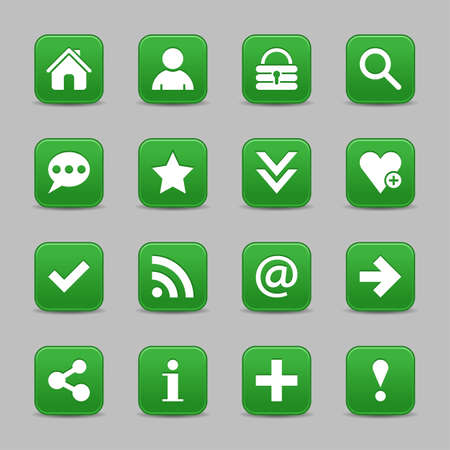 color reflection: 16 green satin icon with white basic sign on rounded square web button with color reflection on background. This vector illustration internet design element save in 8 eps