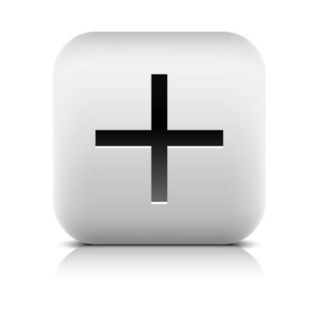 inet: Web icon with plus sign. Rounded square button with black shadow gray reflection on white background. Series in a stone style. Vector illustration clip-art design element in 8 eps