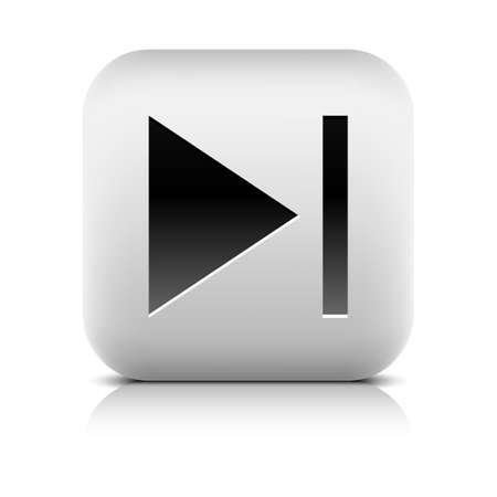 end user: Media player icon with next sign. Rounded square web button with black shadow gray reflection on white background. Series in a stone style. Graphic vector illustration internet design element 8 eps