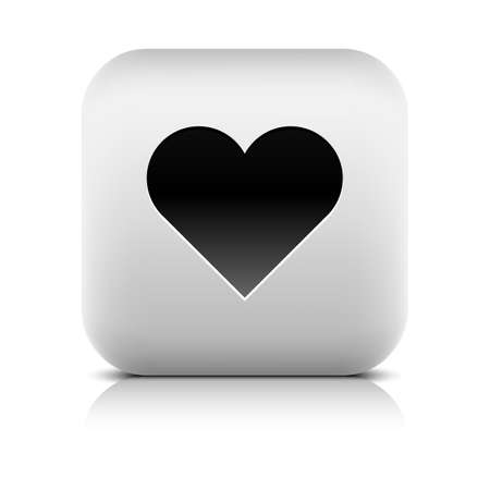 inet: Web icon with heart sign. Rounded square button with black shadow gray reflection on white background. Series in a stone style. Vector illustration graphic clip-art design element in 8 eps