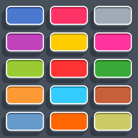 rectangle button: 15 3d blank icon in flat style. Set 02 clicked variant . Colored satin rounded rectangle button with shadow on gray background. Vector illustration web internet design element in 8 eps