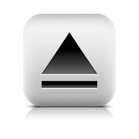 inet symbol: Media player icon with eject sign. Rounded square web button with black shadow gray reflection on white background. Series in a stone style. Graphic vector illustration internet design element 8 eps