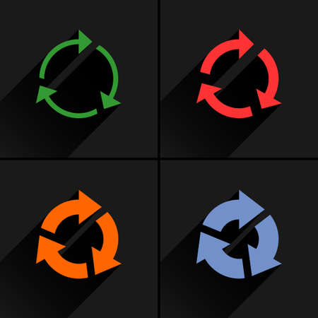 4 arrow icon. Set 03. Rotation, reset, repeat, reload, refresh sign. Color pictogram with black long shadow on gray background. Simple, solid, plain, flat style Vector illustration web design 8 eps