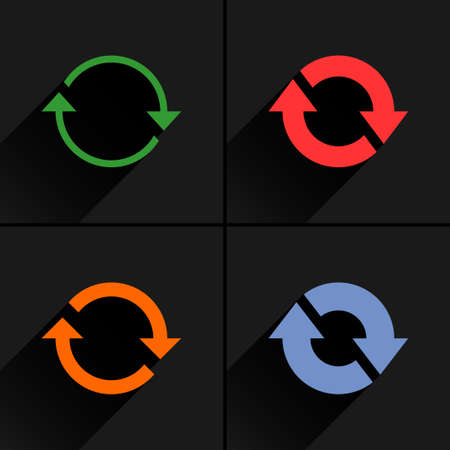 4 arrow icon. Set 02. Refresh, rotation, reset, repeat, reload sign. Color pictogram with black long shadow on gray background. Simple, solid, plain, flat style Vector illustration web design 8 eps