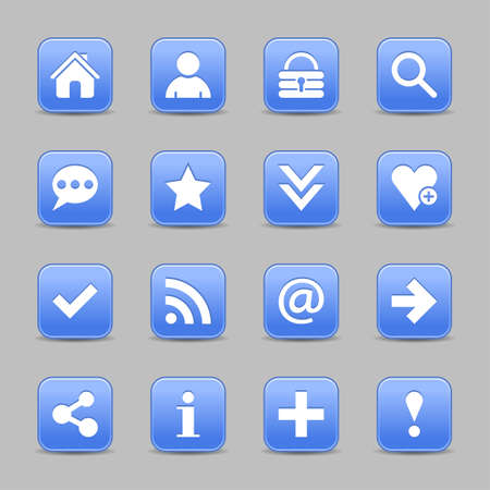 color reflection: 16 blue satin icon with white basic sign on rounded square web button with color reflection on background. This vector illustration internet design element save in 8 eps
