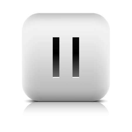 satined: Media player icon with pause sign. Rounded square web button with black shadow gray reflection on white background. Series in a stone style. Graphic vector illustration internet design element 8 eps