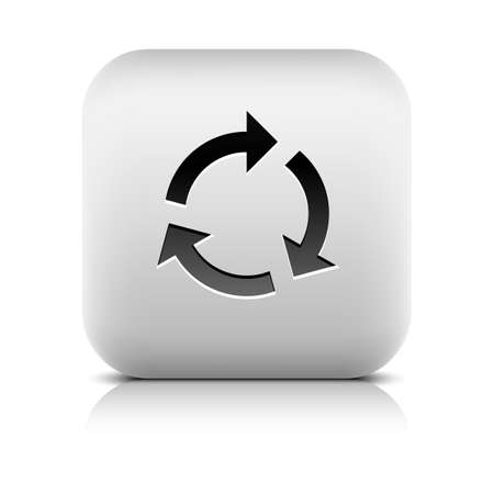 loopable: Black arrow sign. Refresh, reload, rotation, reset, loop icon. Rounded square button with gray reflection, shadow on white background. Series in a stone style. Vector illustration web design 8 eps