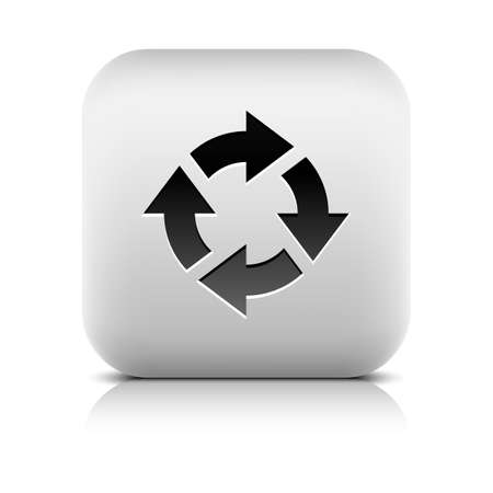 Arrow black sign. Refresh, reload, rotation, reset, loop web icon. Series in a stone style. Rounded square button with gray reflection, shadow on white background. Vector illustration web design 8 eps