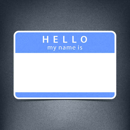 hello my name is: Blue blank name tag sticker HELLO my name is. Rounded rectangular badge with gray drop shadow on dark black background. Vector illustration clip-art element for design in 10 eps Stock Photo