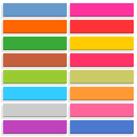 rectangle button: 16 blank icon in flat style. Rounded rectangle 3D button with shadow on white background. Blue, red, yellow, green, pink, orange, brown, violet colors. Vector illustration web design element in 8 eps Illustration