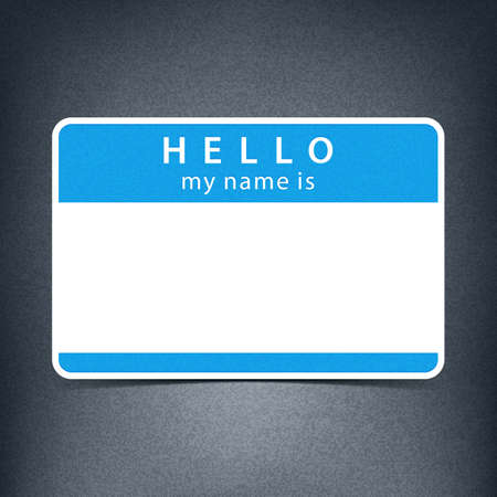 hello my name is: Blue blank name tag sticker HELLO my name is. Rounded rectangular badge with gray drop shadow on dark black background. Vector illustration clip-art element for design in 10 eps Illustration