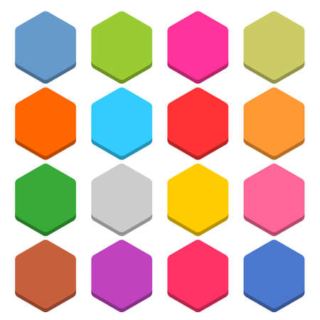 eps vector icon: 16 blank icon in flat style. Hexagon 3D button on white background. Blue, red, yellow, gray, green, pink, orange, brown, violet colors. Vector illustration web internet design element in 8 eps