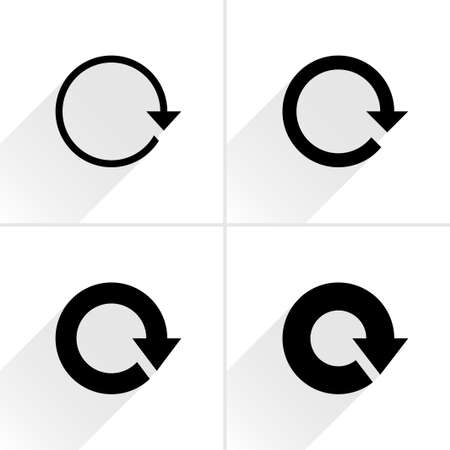 loopable: 4 arrow icon. Set 01. Reload, refresh, rotation, reset, repeat sign. Black pictogram with gray long shadow on white background. Simple, solid, plain, flat style Vector illustration web design 8 eps