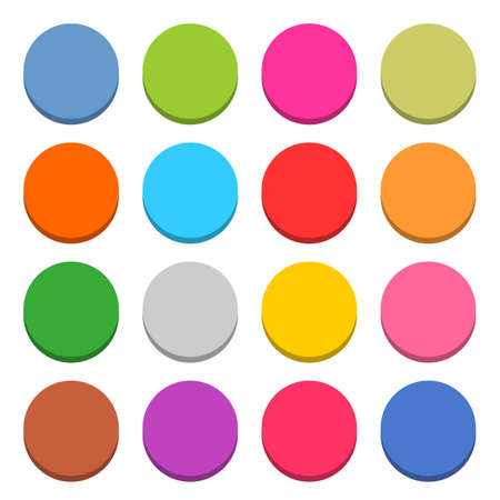 16 blank icon in flat style. Circle 3D button on white background. Blue, red, yellow, gray, green, pink, orange, brown, violet colors. Vector illustration web internet design element in 8 eps