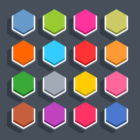 inactive: 16 3d blank icon in flat style. Set 02 inactive variant . Colored matted hexagon button with shadow on gray background. This vector illustration web internet design element saved in 8 eps
