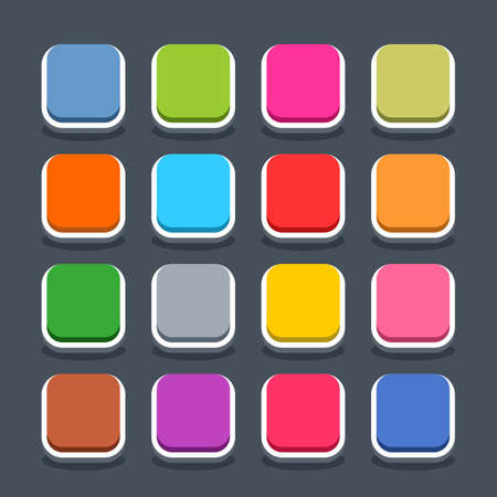 navigation buttons: 16 3d blank icon in flat style. Set 01 inactive variant . Colored satin rounded square button with oval shadow on gray background. Vector illustration web internet design element saved in 8 eps