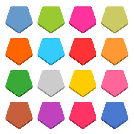 unoccupied: 16 blank icon in flat style. Pentagon 3D button on white background. Blue, red, yellow, gray, green, pink, orange, brown, violet colors. Vector illustration web internet design element in 8 eps