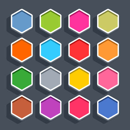 16 3d blank icon in flat style. Set 02 clicked variant . Colored matted hexagon button with shadow on gray background. This vector illustration web internet design element saved in 8 eps